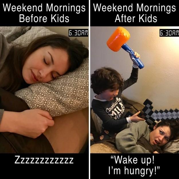 morgener med og uden børn