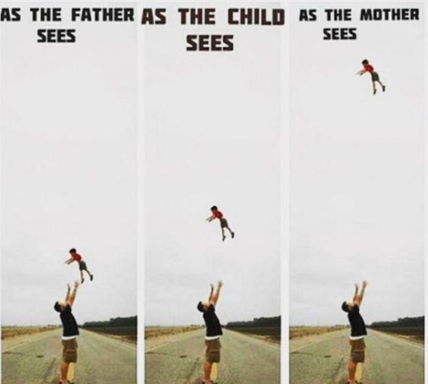 far kaster barn op i luften