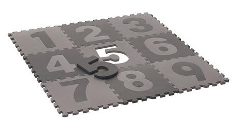 Pixizoo Lekmatta Golvpussel Siffror 30x30 cm - Grå/Ljusgrå