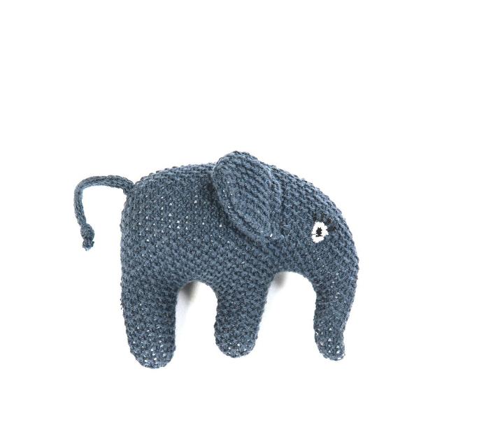 SMALLSTUFF Skallra Stickad Elefant - Blå