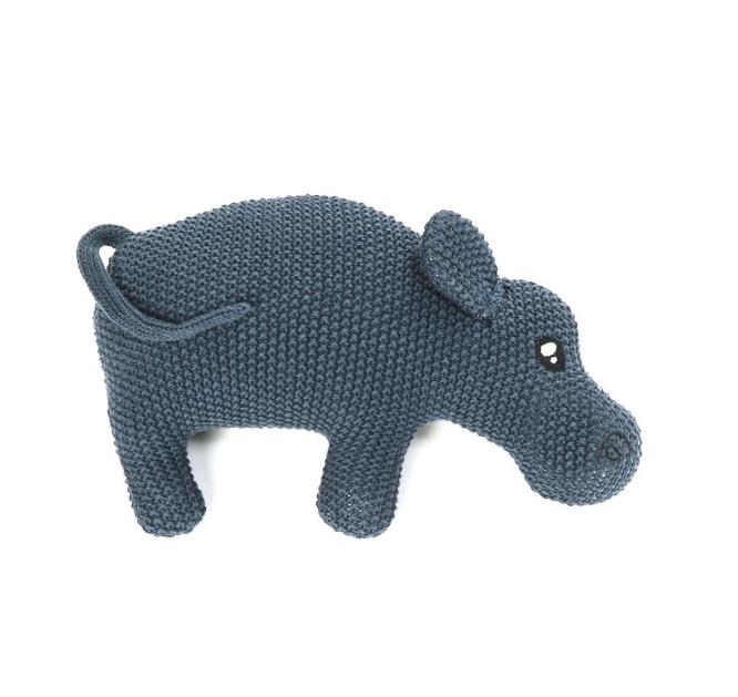 Smallstuff Gosedjur Stickad Flodhäst - Blå