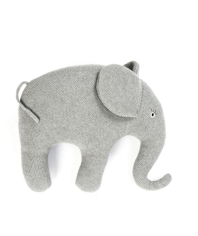 Smallstuff Kudde Stickad Elefant - Grå