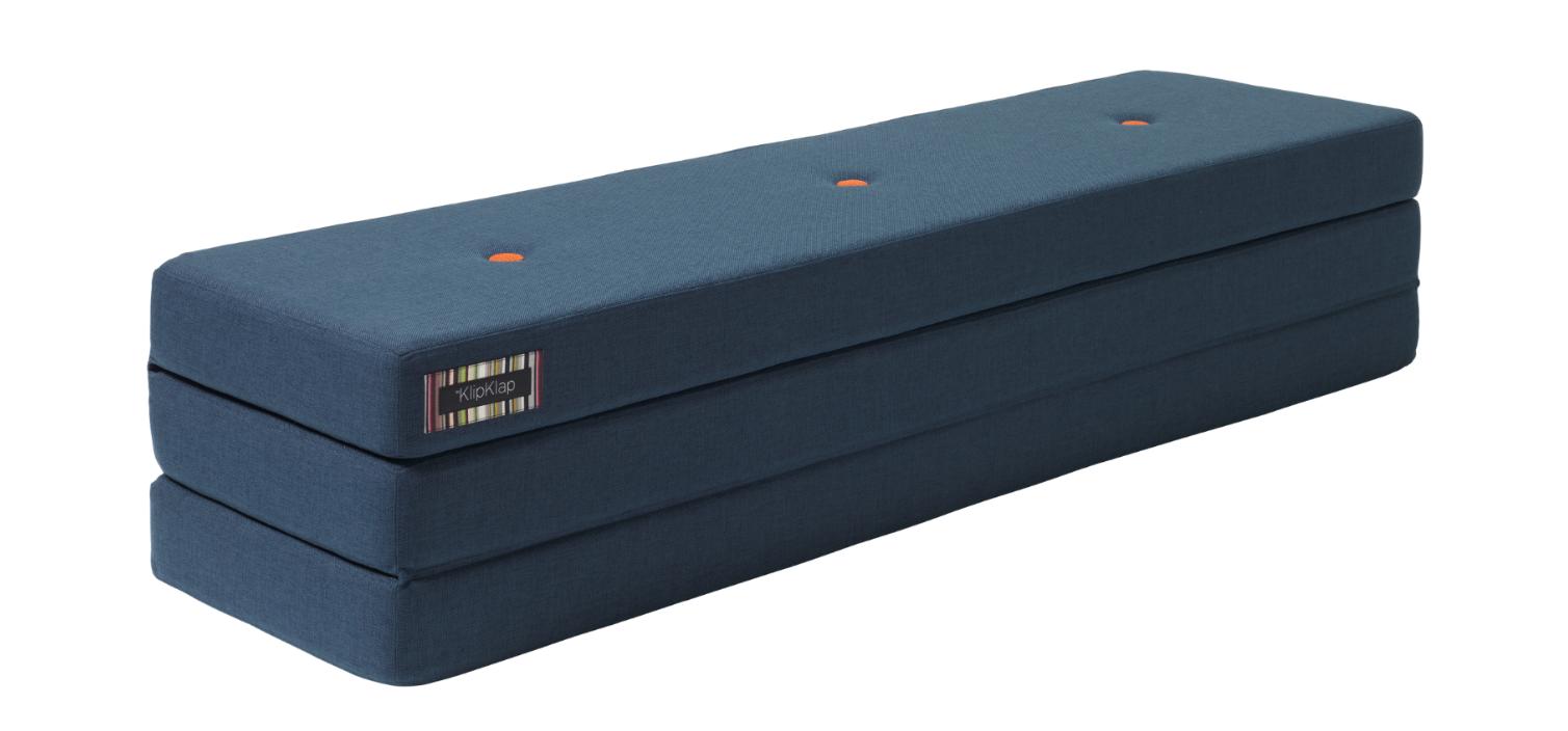 ByKlipKlap Multifunktionell 3 Fold XL Madrass - Mörk Blå med Orange Knapp
