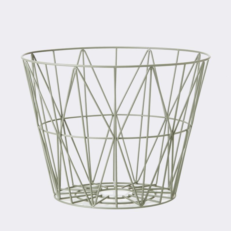 Ferm living – Ferm living wire basket - dusty green - large, 1 stk. på lager på pixizoo