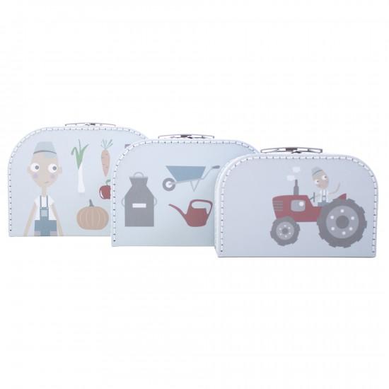 Sebra - kuffertsæt m. 3 kufferter - farm dreng, 4 stk. på lager fra Sebra på pixizoo