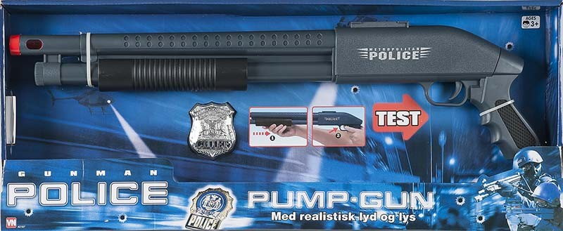 Gunman politi pumpgun med lyd, +10 stk. på lager fra Gunman på pixizoo