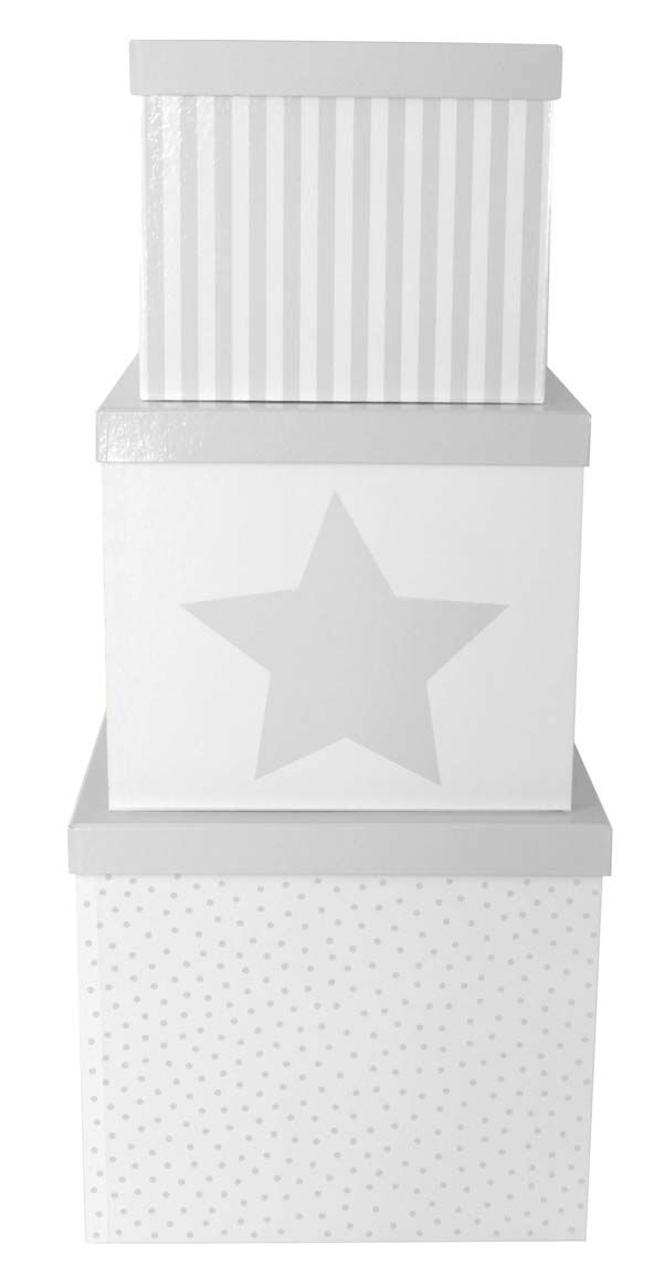 JaBaDaBaDo Förvaringsbox 3-pack - Grå