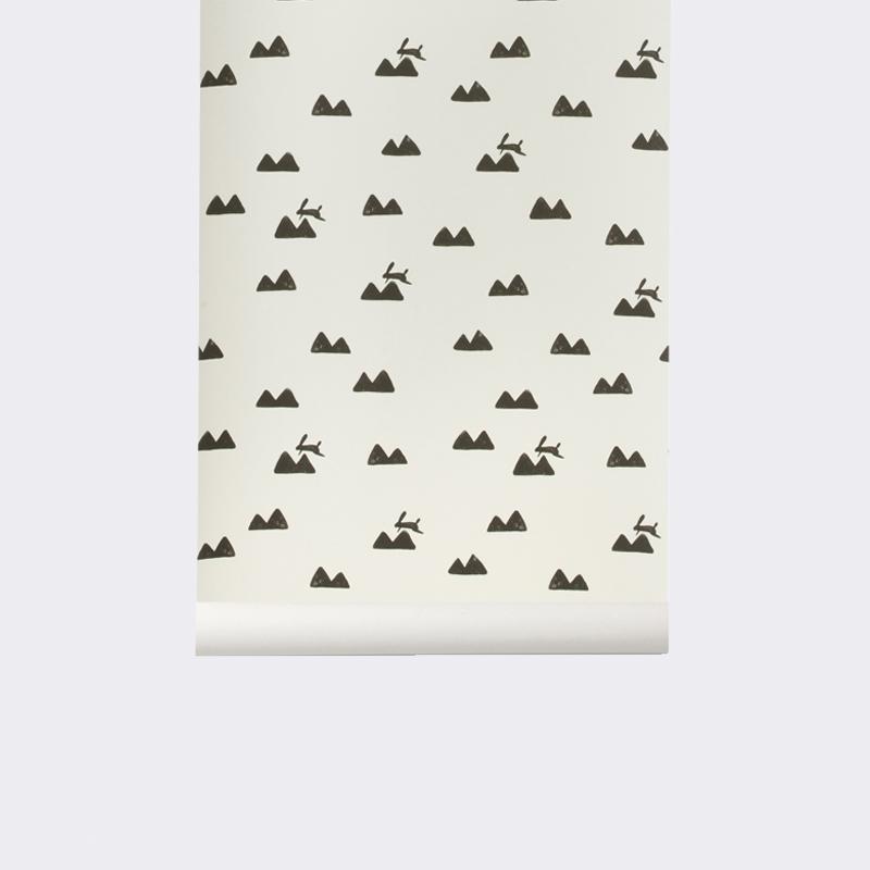 Ferm living Ferm living rabbit wallpaper - tapet - off-white, 2 stk. på lager på pixizoo