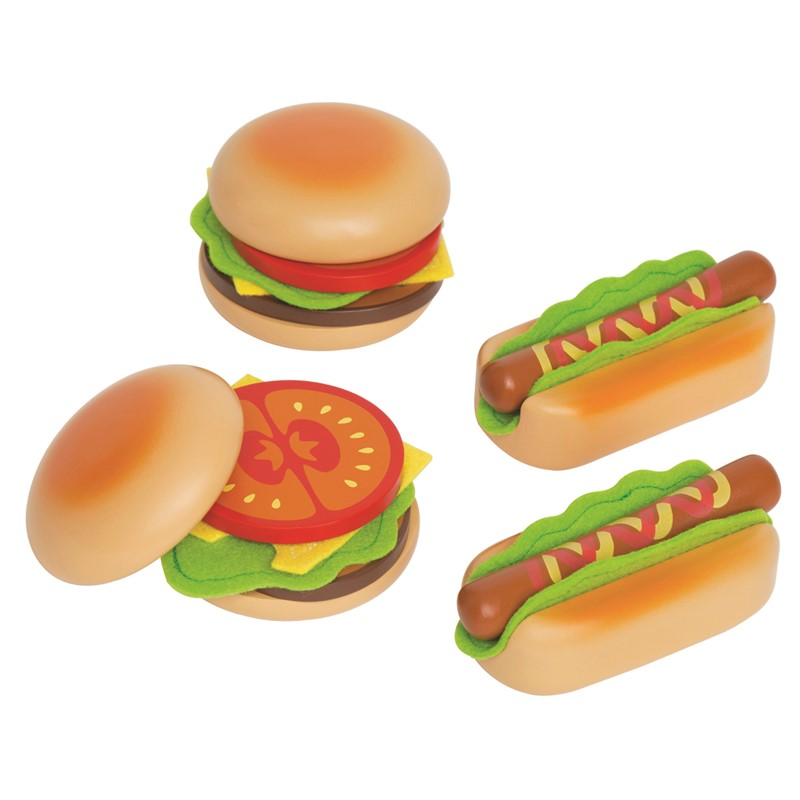 Hape hamburgers & hotdogs legemad, 8 stk. på lager fra Hape fra pixizoo