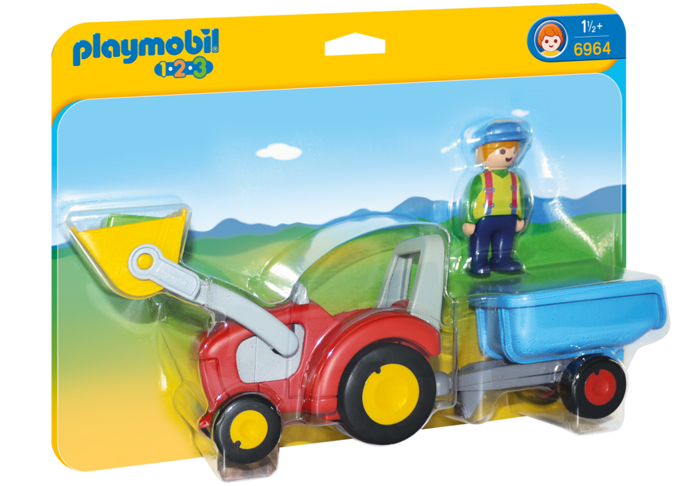 Playmobil – Traktor med trailer (6964) - playmobil 1.2.3, 2 stk. på lager fra pixizoo