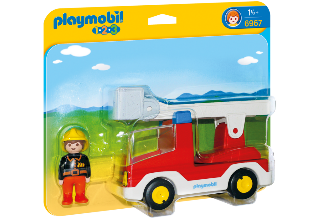 Playmobil Brandbil med stige (6967) - playmobil 1.2.3, 5 stk. på lager fra pixizoo