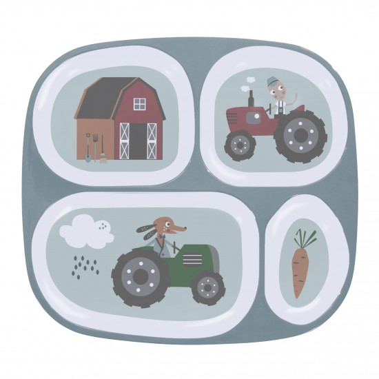 Sebra – Sebra - melamintallerken m. 4 rum, farm boy, 2 stk. på lager på pixizoo