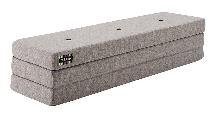 ByKlipKlap Multifunktionell 3 Fold XL Madrass - Grå med Grå Knapp