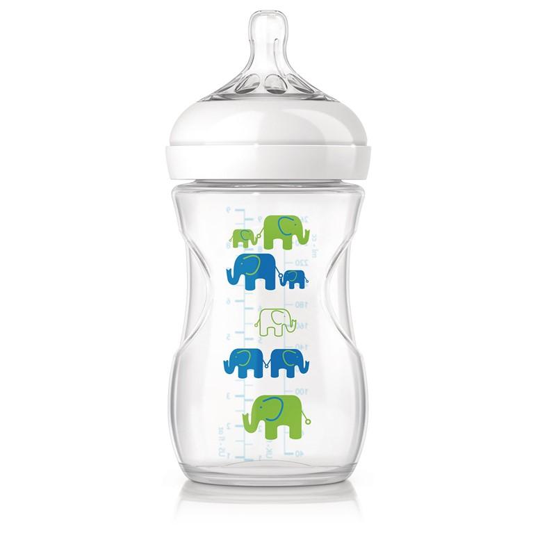 Philips avent natural sutteflaske - 260 ml - blå/grøn elefanter, 9 stk. på lager fra Philips avent fra pixizoo