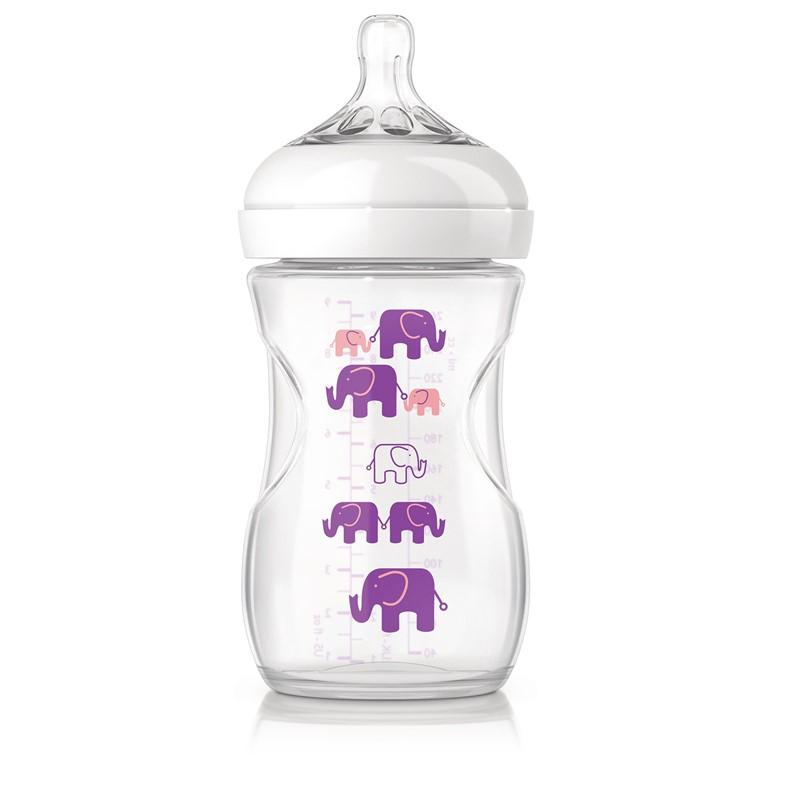 Philips avent Philips avent natural sutteflaske - 260 ml - lilla elefanter, +10 stk. på lager på pixizoo