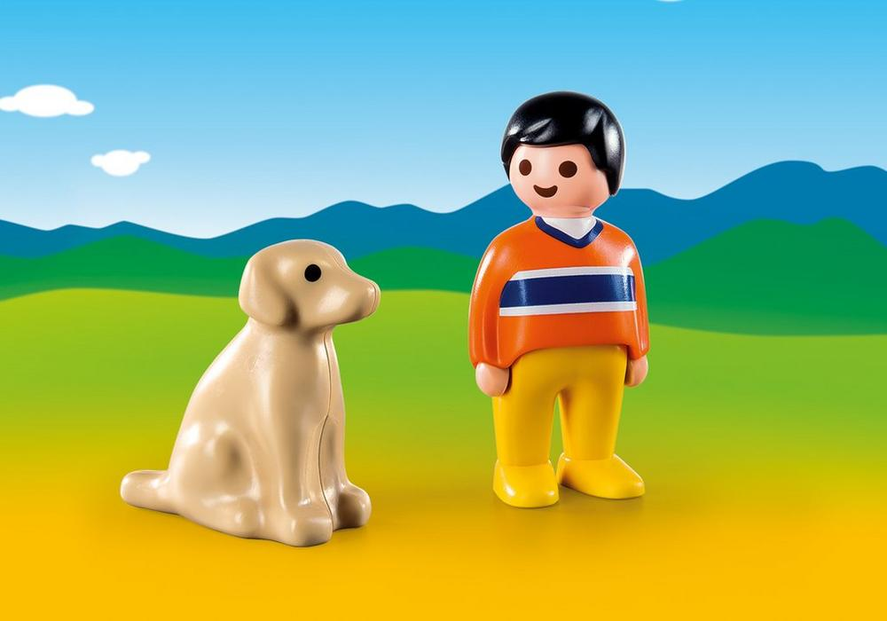 Playmobil – Mand med hund (9256) - playmobil 1.2.3, 4 stk. på lager på pixizoo
