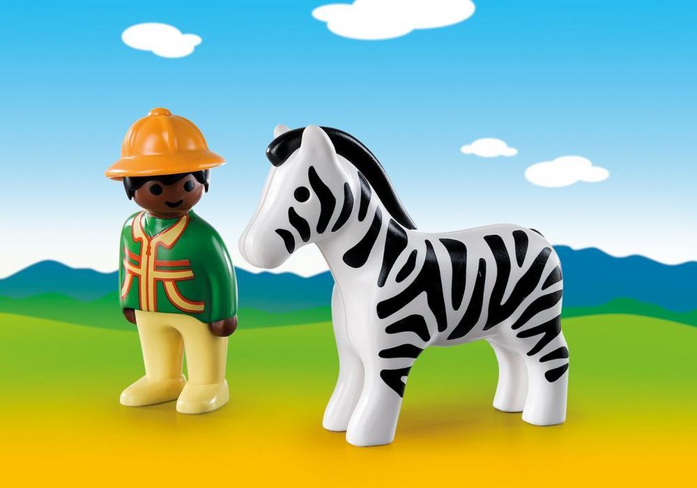 Playmobil – Ranger med zebra (9257) - playmobil 1.2.3, 2 stk. på lager på pixizoo