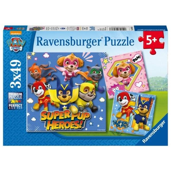 Ravensburger Paw Patrol Super Pups Heroes puslespil - 3x49 brikker