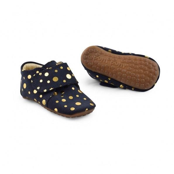 Pom Pom Fashion hjemmesko - navy m. guld prikker