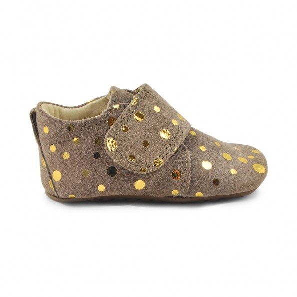 Pom Pom Fashion Hjemmesko - brun med guld prikker
