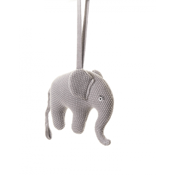 Smallstuff musik uro, strikket elefant, lilla