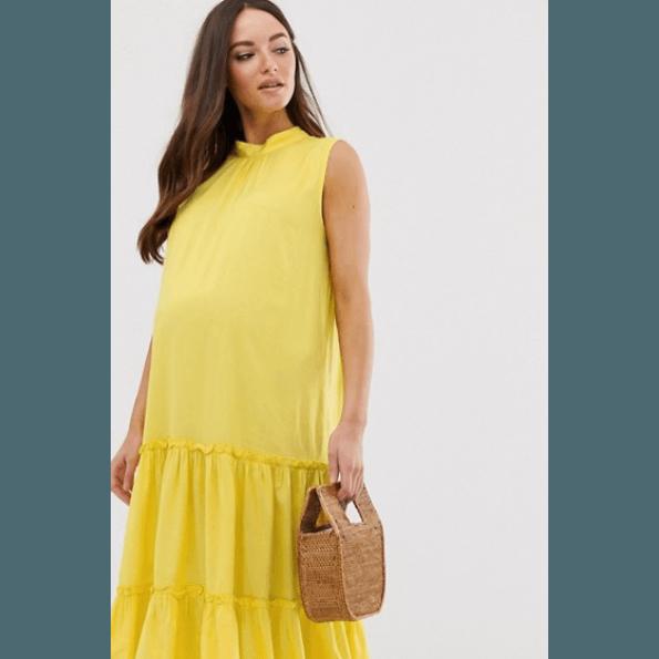 Mamalicious vævet ventekjole – gul