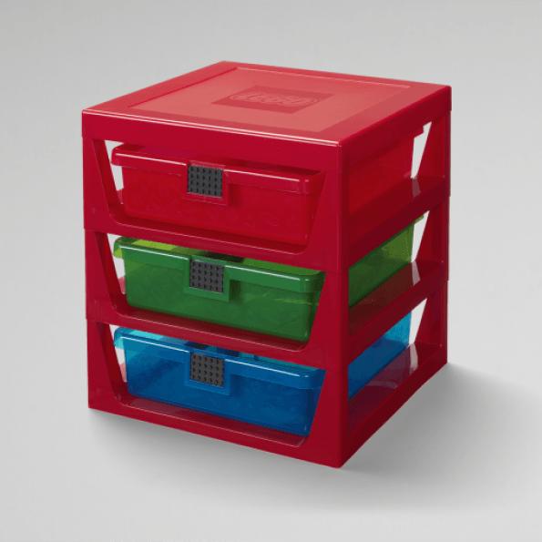 LEGO Opbevaring med 3 skuffer Rød