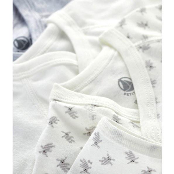 Petit Bateau 3-pak bodystockings - hvid/grå