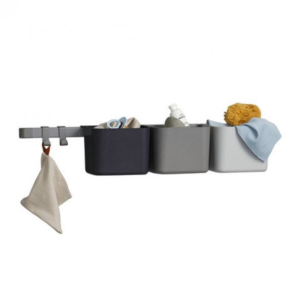 Leander opbevaringsholdere inkl. lang skinne - Dusty Grey