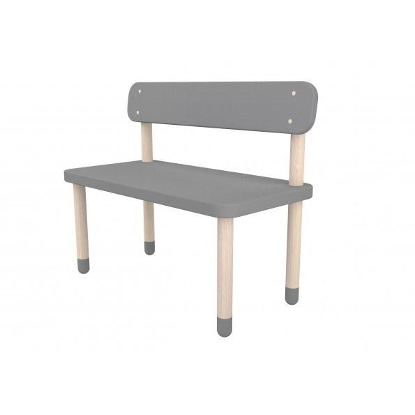 Flexa bænk med ryglæn - Urban grey