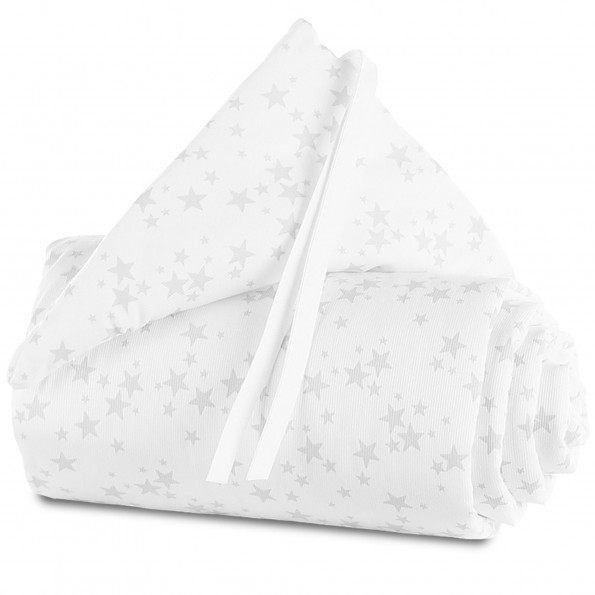 Babybay Pique sengerand til original - White Stars/Pearl Grey