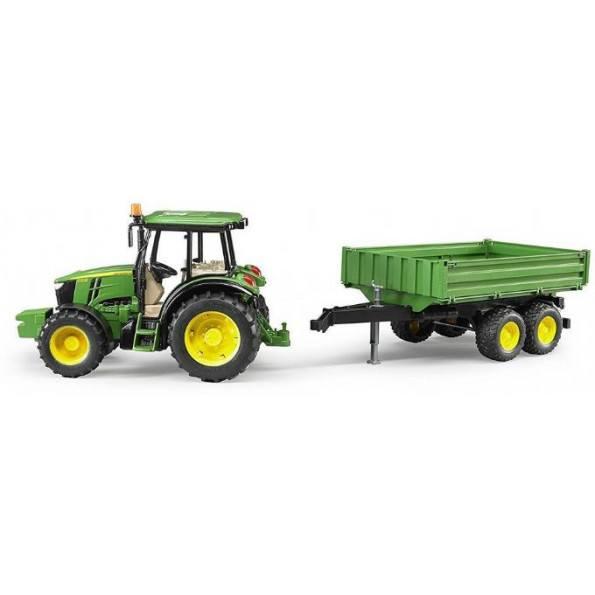 Bruder Traktor med tippetrailer - John Deere 5115M - Grøn - 2108