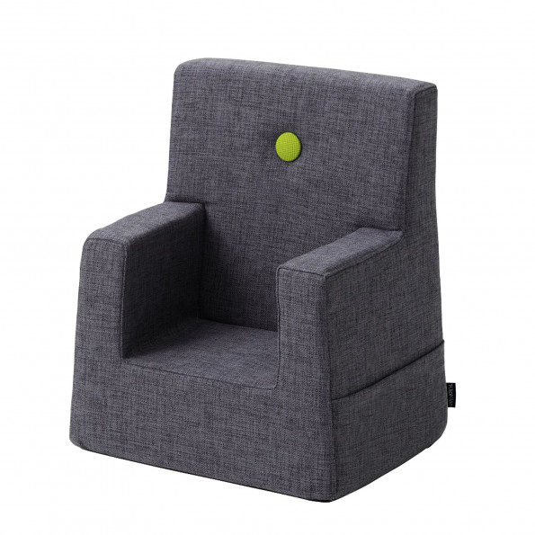 By KlipKlap Kids Chair - blågrå m. grøn knap