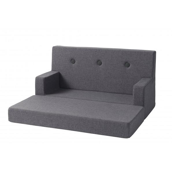 By KlipKlap KK Kids sofa - Blågrå m. grå knapper