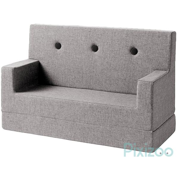 By KlipKlap KK Kids sofa - Multigrå m. grå knapper