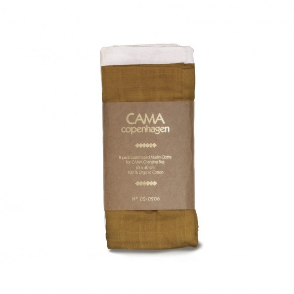CAMA Copenhagen stofble - Hvid/mørkegul - 65x42 cm