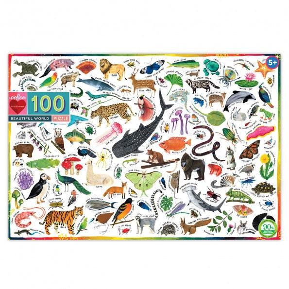eeBoo puslespil 100 brk - Dyr i verden