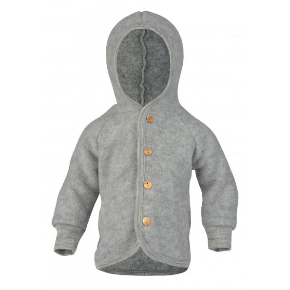 Engel jakke i uldfleece - Light Grey Melange