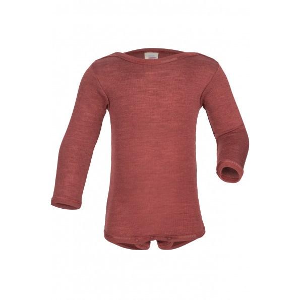 Engel langærmet body i uld/silke - Copper