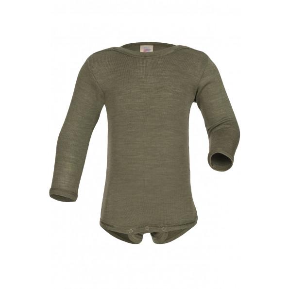 Engel langærmet body i uld/silke - Olive