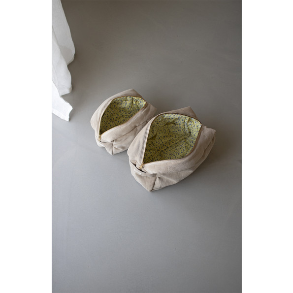 Filibabba Lille Fløjls Toilettaske - doeskin