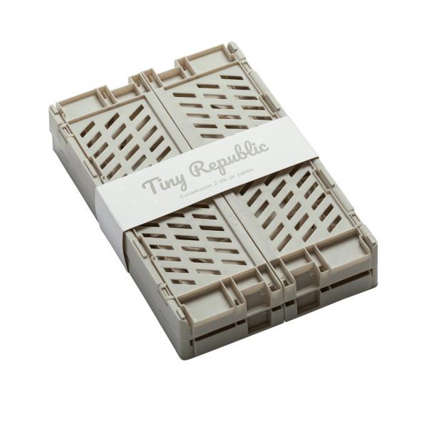 Tiny Republic 2 stk. Foldekasser XL - Lysegrå