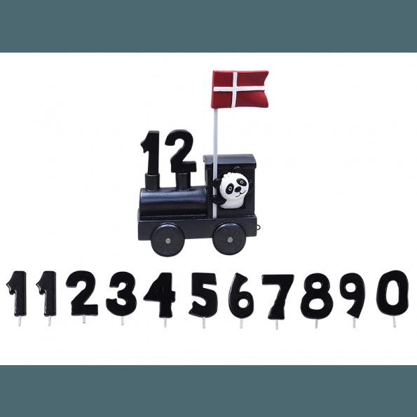 Kids by Friis, Fødselsdagstog, Lokomotiv, Panda - Sort