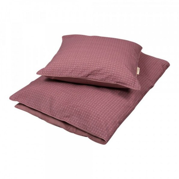 Filibabba baby sengetøj - Leafed dusty rose - 70x100 cm.
