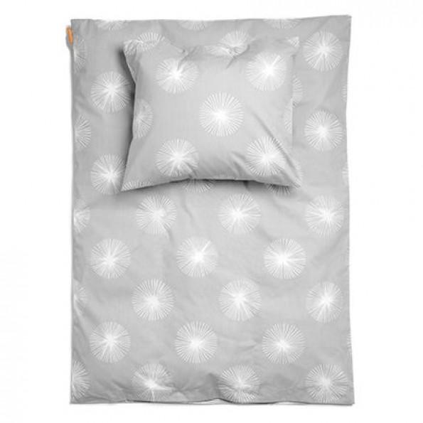 Leander Flora Light Grey Junior Sengetøj - 100x140 cm + 40x45 cm