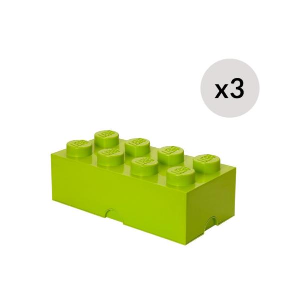 Lego Opbevaringskasse 8 - Limegrønx3