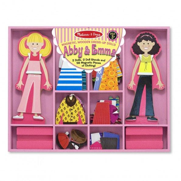 Melissa & Doug Abby og Emma magnetisk klæd ud dukke