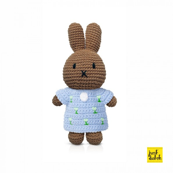 Miffy hæklet dukke m. kjole - Pastel blå