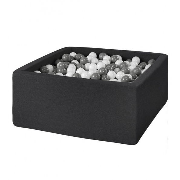 MISIOO firkantet Boldbassin med 300 bolde - Mørkegrå (110x110x50 cm)