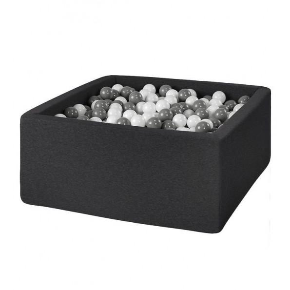 MISIOO firkantet Boldbassin med 200 bolde - Mørkegrå (90x90x40 cm)